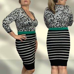 Laundry by Design Fitted Striped Leopard Dress L